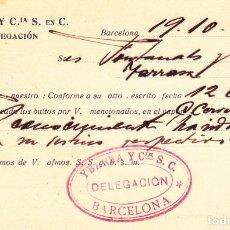 Sellos: ENTERO POSTAL DE IMPRESIÓN PARTICULAR -YBARRA Y CIA EN BARCELONA 1927. Lote 176179455