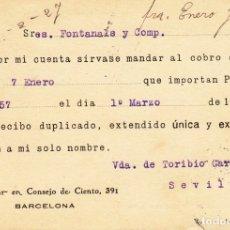 Sellos: ENTERO POSTAL DE IMPRESIÓN PARTICULAR - VDA. DE TORIBIO GARCIA SEVILLA- BARCELONA 1927. Lote 176179720