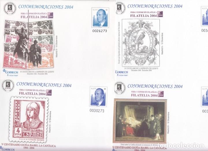 SOBRES ENTERO POSTALES -NUMS. 96 - 4 TIPOS DISTINTOS - CONMEMORACIONES 2004 - FILATELIA 2004 MADRID (Sellos - España - Dependencias Postales - Entero Postales)