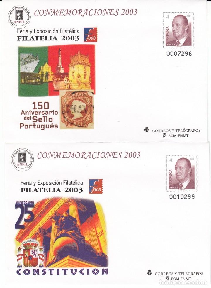 SOBRES ENTERO POSTALES -NUMS.89 - 2 TIPOS DISTINTOS- CONMEMORACIONES 2003 EXPOS. FILATELIA 2003 (Sellos - España - Dependencias Postales - Entero Postales)