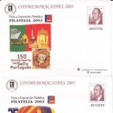 Sellos: SOBRES ENTERO POSTALES -NUMS.89 - 2 TIPOS DISTINTOS- CONMEMORACIONES 2003 EXPOS. FILATELIA 2003. Lote 232149940