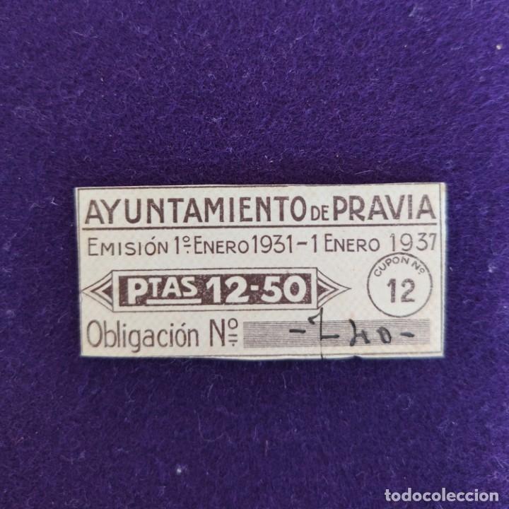 CUPÓN DEL AYUNTAMIENTO DE PRAVIA (ASTURIAS). 1 ENERO 1931-1937.12,50 PTS. VIÑETA-SELLO. (Sellos - España - Dependencias Postales - Beneficencia)