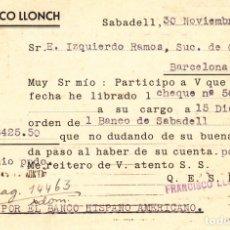 Sellos: ENTERO POSTAL DE INICIATIVA PARTICULAR- PRIVADO - FRANCISCO LLONCH DE SABADELL -1935 -FRANQUEO COMP.. Lote 177727290