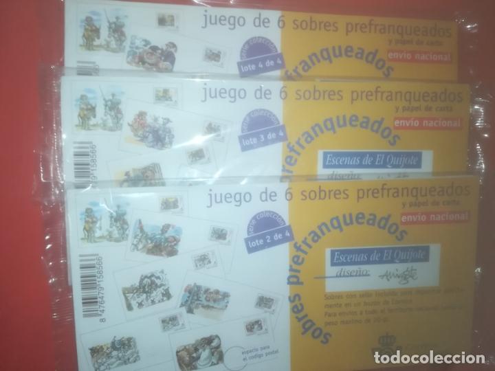 LOTE 2,3 Y 4 , 6 SOBRES PREFRANQUEADOS, Y PAPEL DE CARTA, EL QUIJOTE, MINGOTE (Sellos - España - Dependencias Postales - Entero Postales)