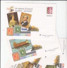 Sellos: 2001 4 SOBRES ENTEROS POSTALES NUM. 73 150 ANIVERSARIO FERROCARRIL MADRID - ARANJUEZ . Lote 180015792