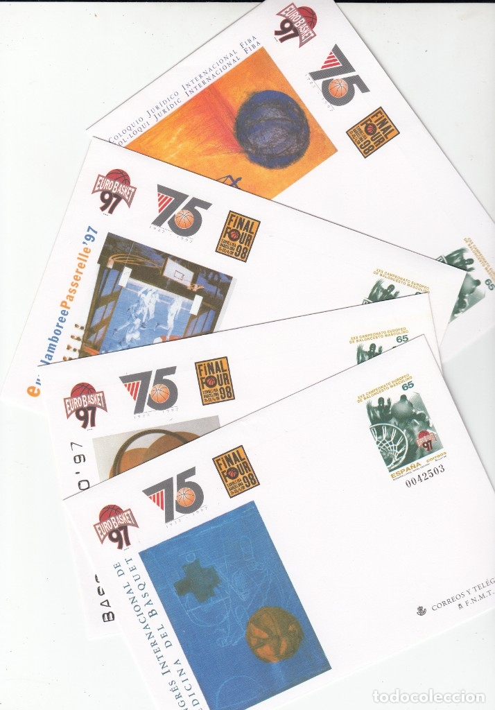 1997 4 ENTEROS POSTALES NUM. 42 EUROBASKET 97 - CAMP.EUROPEO DE BALONCESTO MASCULINO (Sellos - España - Dependencias Postales - Entero Postales)