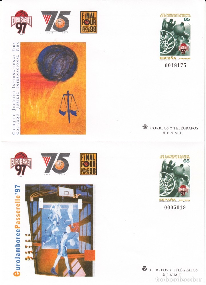 Sellos: 1997 4 ENTEROS POSTALES NUM. 42 EUROBASKET 97 - CAMP.EUROPEO DE BALONCESTO MASCULINO - Foto 3 - 180466660