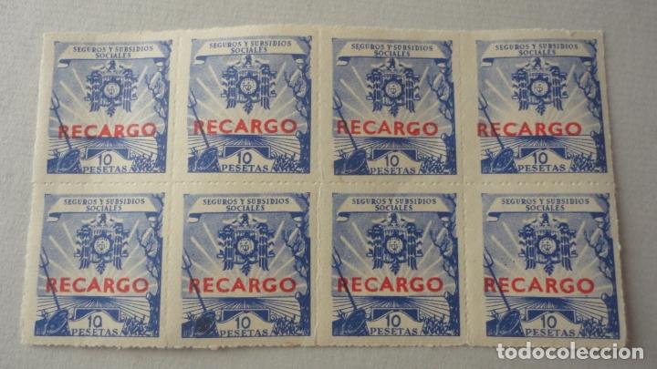 CONJUNTO 8 SELLOS RECARGO 10 PESETAS.SEGUROS Y SUBSIDIOS SOCIALES. (Sellos - España - Dependencias Postales - Beneficencia)