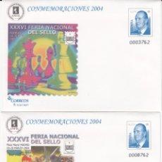 Sellos: SOBRES ENTERO POSTALES -NUMS.90 - 2 TIPOS DISTINTOS- CONMEMORACIONES 2004 MADRID FERIA NAC SELLO. Lote 182613162