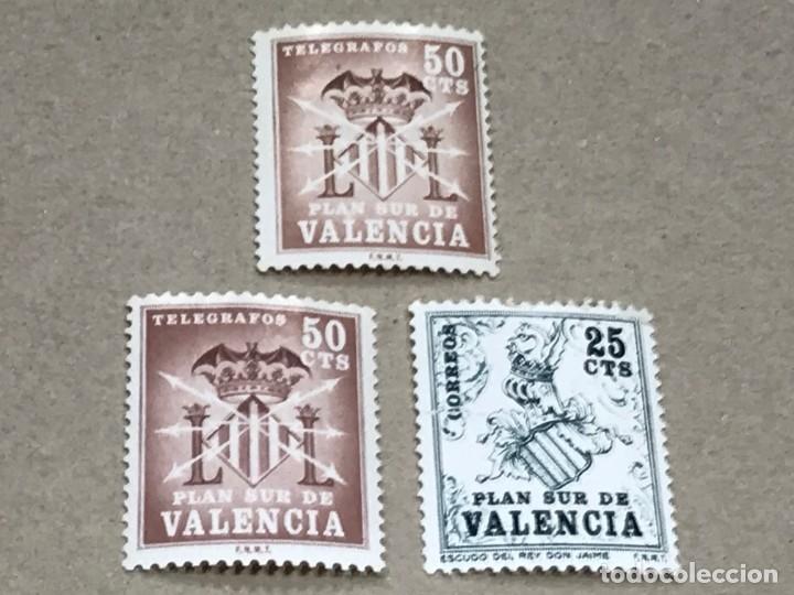 LOTE DE 3 SELLOS PLAN SUR DE VALENCIA EDIFIL 1 Y 2 , NUEVOS SIN FIJASELLOS (Sellos - España - Dependencias Postales - Telégrafos)