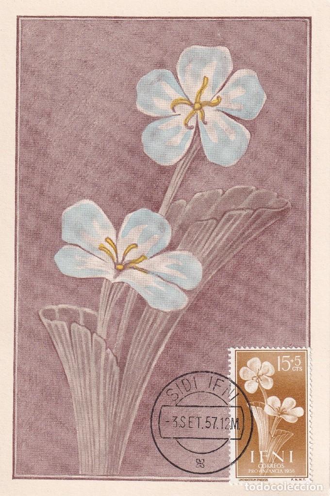 IFNI FLORA PRO INFANCIA 1956 (EDIFIL 129) EN BONITA Y RARA TARJETA MAXIMA. MPM. (Sellos - España - Dependencias Postales - Tarjetas Máximas)