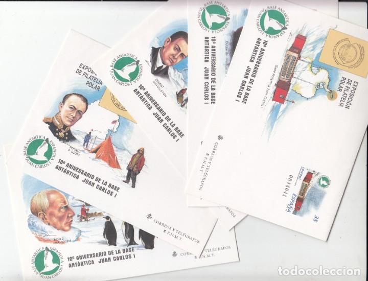 5 SOBRES ENTERO POSTALES- FILATELIA POLAR -ANIV. BASE ANTARTICA JUAN CARLOS I NUM. 49 (Sellos - España - Dependencias Postales - Entero Postales)