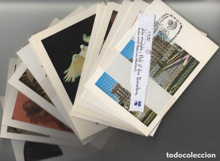 1986 - AÑO COMPLETO EN 48 TARJETAS MÁXIMAS ,MATASELLO PRIMER DIA BARCELONA -TM /TARJETA MÁXIMA (Sellos - España - Dependencias Postales - Tarjetas Máximas)
