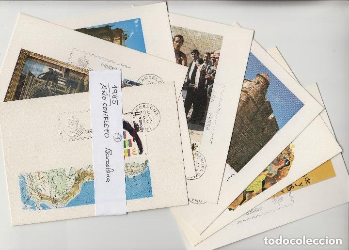 1985 - AÑO COMPLETO EN 46 TARJETAS MÁXIMAS ,MATASELLO PRIMER DIA BARCELONA -TM /TARJETA MÁXIMA (Sellos - España - Dependencias Postales - Tarjetas Máximas)