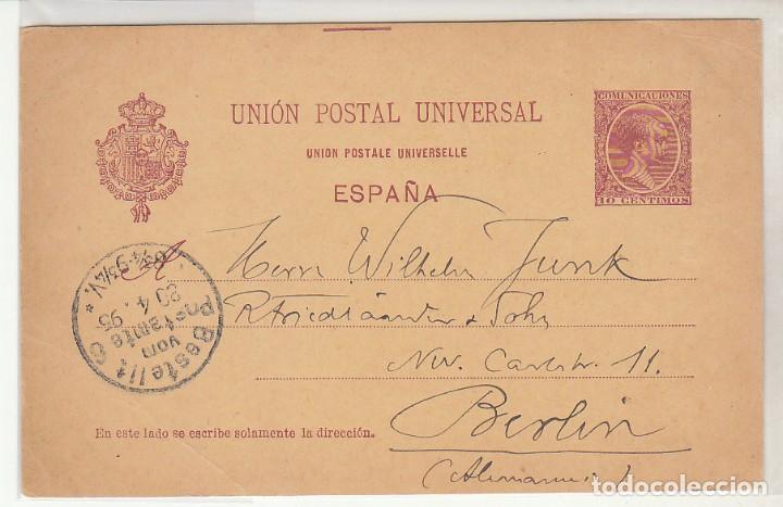 E.P.: 0 31 SEVILLA A BERLIN (ALEMANIA). 1895 (Sellos - España - Dependencias Postales - Entero Postales)