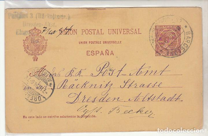 E.P.: 0 31 ALFONSO XIII. BARCELONA A DRESDEN (ALEMANIA). 1894 (Sellos - España - Dependencias Postales - Entero Postales)