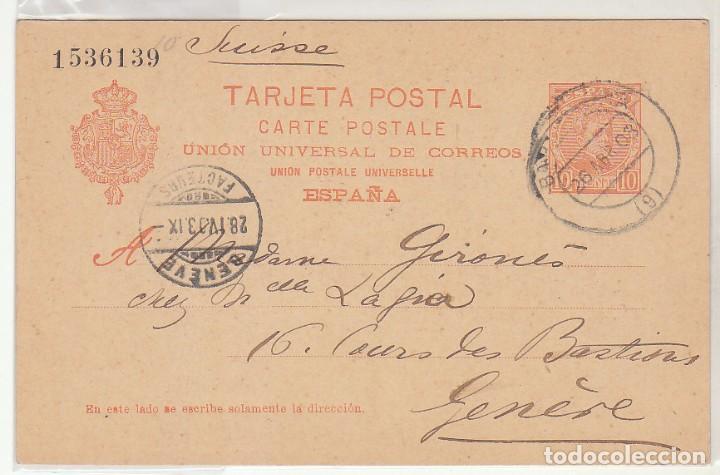 E.P.: 0 42. ALFONSO XIII. A GENOVA (SUIZA). 1903 (Sellos - España - Dependencias Postales - Entero Postales)