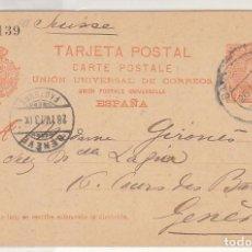 Sellos: E.P.: 0 42. ALFONSO XIII. A GENOVA (SUIZA). 1903. Lote 191594948