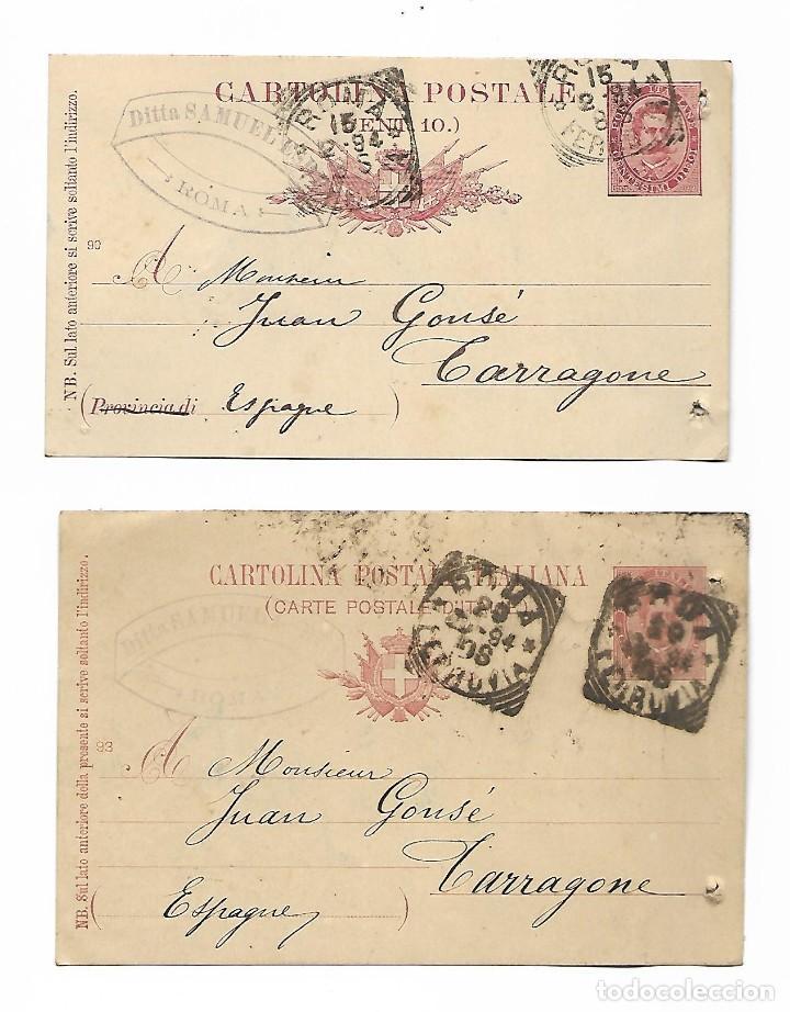 2 ENTEROS POSTALES DE ITALIA - ROMA AÑO 1894 - VER FOTOS (Sellos - España - Dependencias Postales - Entero Postales)