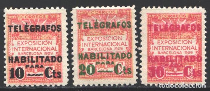 BARCELONA, TELÉGRAFOS 1930 EDIFIL Nº 1 / 3 /**/, SIN FIJASELLOS (Sellos - España - Dependencias Postales - Telégrafos)