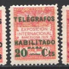 Sellos: BARCELONA, TELÉGRAFOS 1930 EDIFIL Nº 1 / 3 /**/, SIN FIJASELLOS. Lote 191940891