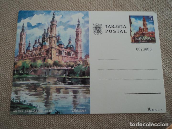 TARJETA ENTERO POSTAL - IGLESIA BASILICA DEL PILAR DE ZARAGOZA (Sellos - España - Dependencias Postales - Entero Postales)