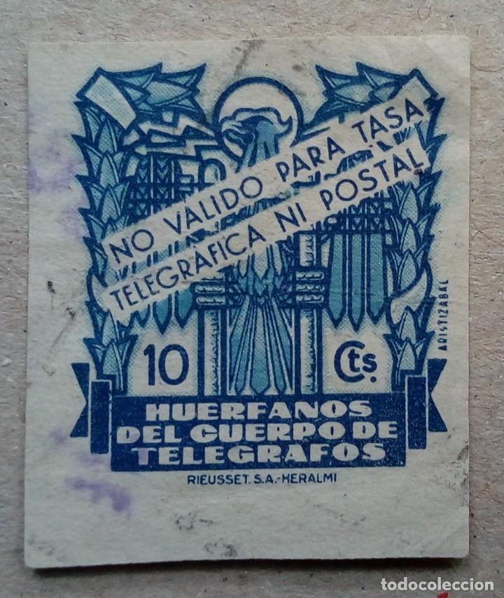 ESPAÑA HUÉRFANOS CUERPO TELEGRAFOS 10 CTS CIFRA GRANDE (Sellos - España - Dependencias Postales - Telégrafos)