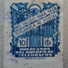 Sellos: ESPAÑA HUÉRFANOS CUERPO TELEGRAFOS 10 CTS CIFRA GRANDE. Lote 196947938