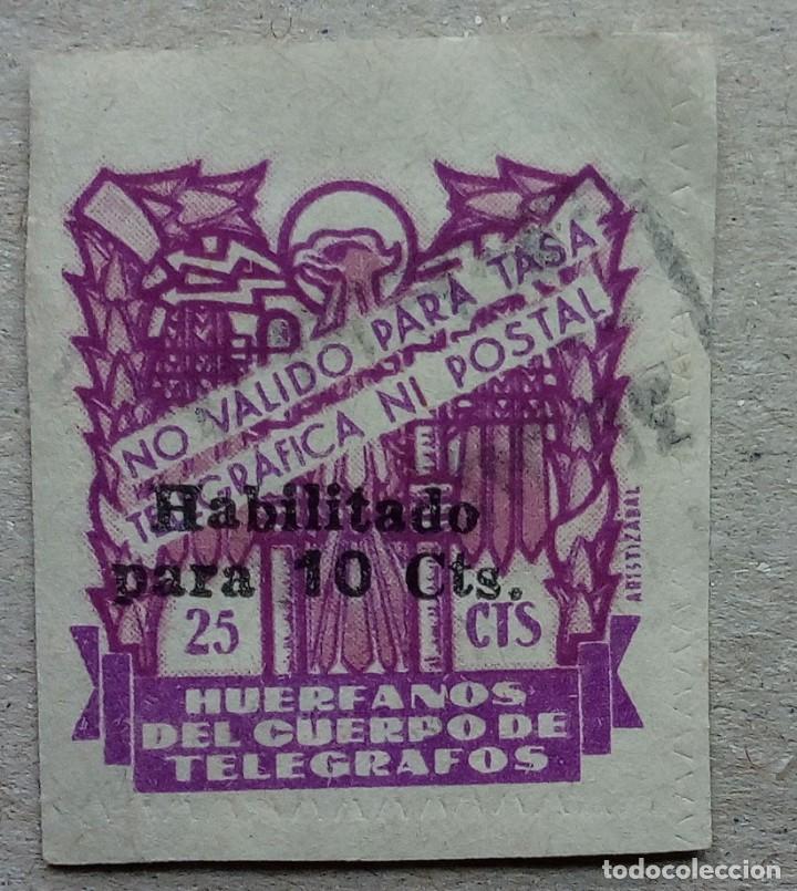 ESPAÑA HUÉRFANOS CUERPO TELEGRAFOS 25 CTS CIFRA HABILITADO 10 CTS (Sellos - España - Dependencias Postales - Telégrafos)