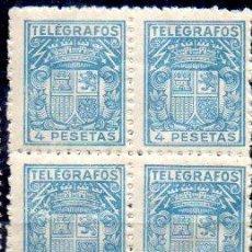 Sellos: ESPAÑA.- TELÉGRAFOS, 4 PESETAS EN BLOQUE DE CUATRO PESETAS, EN NUEVO. Lote 198415411