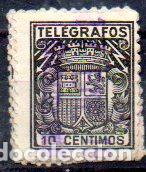 ESPAÑA.- TELÉGRAFOS, 10 CÉNTIMOS DE PESETA, EN USADO (Sellos - España - Dependencias Postales - Telégrafos)