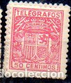 ESPAÑA.- TELÉGRAFOS, 50 CÉNTIMOS DE PESETA, EN USADO (Sellos - España - Dependencias Postales - Telégrafos)