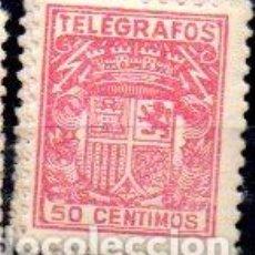Francobolli: ESPAÑA.- TELÉGRAFOS, 50 CÉNTIMOS DE PESETA, EN USADO. Lote 198415670