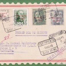 Sellos: IFNI GENERAL FRANCO TRES EMISIONES Y EL CID 1948 EN TARJETA MAXIMA PRIMER DIA CIRCULADA MUY RARA ASI. Lote 22070786