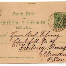 Sellos: ENTERO POSTAL PARA PORTUGAL Y GIBRALTAR - ESPAÑA - FRANQUEO COMPLEMENTARIO, BARCELONA 1891, PELON. Lote 211670835