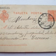 Sellos: ENTERO FRANQUEADO DIRIGIDO AL BALNEARIO DE MONDARIZ DESDE ORENSE 1906 HOTEL TRONCOSO PEINADOR. Lote 234451685