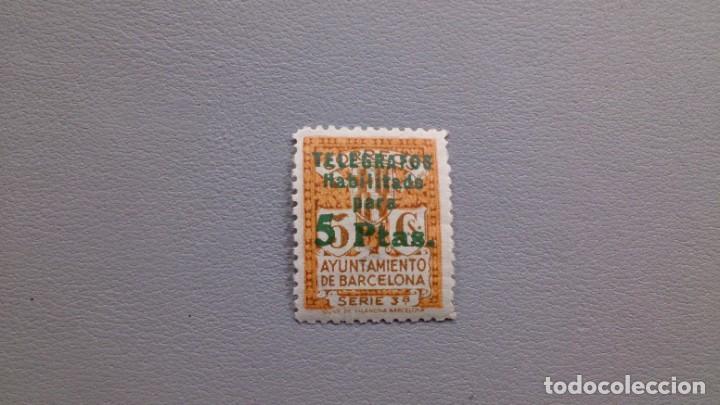 ESPAÑA - 1934 - II REPUBLICA - BARCELONA TELEGRAFOS - EDIFIL 8 - MH* - NUEVO. (Sellos - España - Dependencias Postales - Telégrafos)