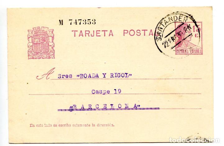 TARJETA ENTERO POSTAL REPÚBLICA ESPAÑOLA CIRCULADA EN 1935 LETRA D, NUMERADA (Sellos - España - Dependencias Postales - Entero Postales)