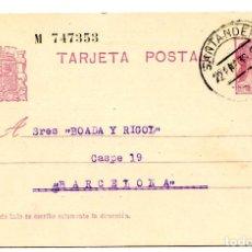 Sellos: TARJETA ENTERO POSTAL REPÚBLICA ESPAÑOLA CIRCULADA EN 1935 LETRA D, NUMERADA. Lote 63976839