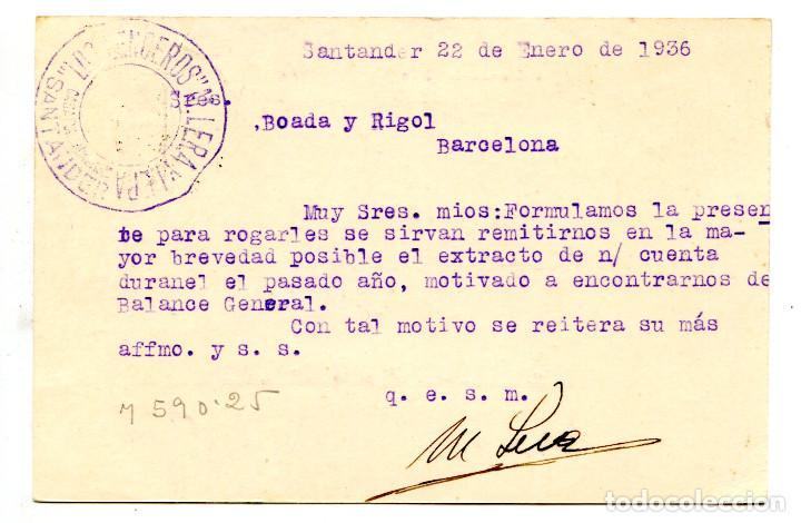Sellos: Tarjeta entero postal República Española circulada en 1935 Letra D, numerada - Foto 2 - 63976839