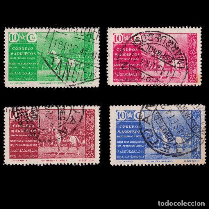 MARRUECOS BENEFICENCIA.1941.PRO MUTILADOS GUERRA.SERIE USADO.EDIFIL 13-16 (Sellos - España - Dependencias Postales - Beneficencia)