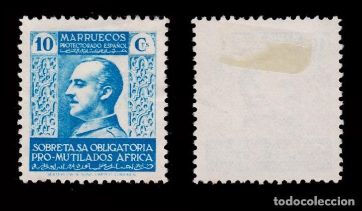 Sellos: MARRUECOS BENEFICENCIA.1937-39.Pro Mutilados Guerra.10c MNG.Edifil 2 - Foto 2 - 262744035