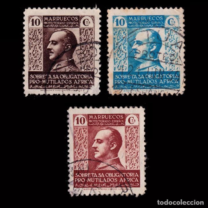 MARRUECOS BENEFICENCIA.1937-39.PRO MUTILADOS GUERRA.SERIE USADO.EDIFIL 1-3 (Sellos - España - Dependencias Postales - Beneficencia)