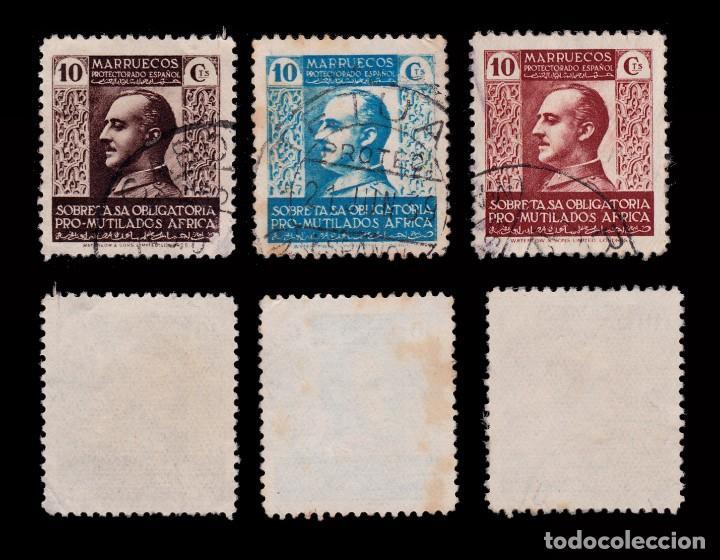 Sellos: MARRUECOS BENEFICENCIA.1937-39.Pro Mutilados Guerra.Serie Usado.Edifil 1-3 - Foto 2 - 262744450