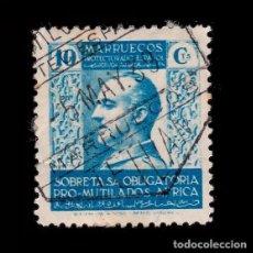 Sellos: MARRUECOS BENEFICENCIA.1937-39.PRO MUTILADOS GUERRA.10C USADO.EDIFIL 2. Lote 262744580