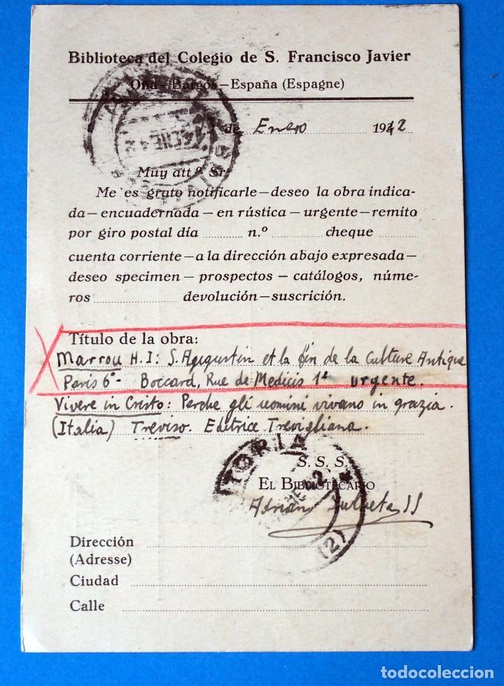 Sellos: ENTERO POSTAL. COLEGIO DE S. FRANCISCO JAVIER. OÑA. ( BURGOS). AÑO 1914 - Foto 2 - 272193603