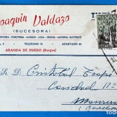 Sellos: ANTIGUO ENTERO POSTAL JOAQUIN VALDAZO. PAQUETERIA- FERRETERÍA. ARANDA DE DUERO ( BURGOS). Lote 272195978