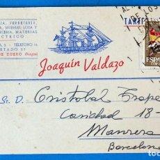 Sellos: ANTIGUO ENTERO POSTAL JOAQUIN VALDAZO. PAQUETERIA- FERRETERÍA. ARANDA DE DUERO ( BURGOS). Lote 272196258