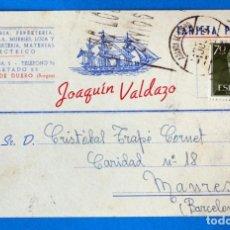 Sellos: ANTIGUO ENTERO POSTAL JOAQUIN VALDAZO. PAQUETERIA- FERRETERÍA. ARANDA DE DUERO ( BURGOS). Lote 272196453