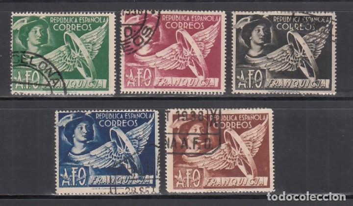 ESPAÑA, FRANQUICIA POSTAL. 1938 EDIFIL Nº 23 / 27, EFIGIE DE MERCURIO (Sellos - España - Dependencias Postales - Beneficencia)